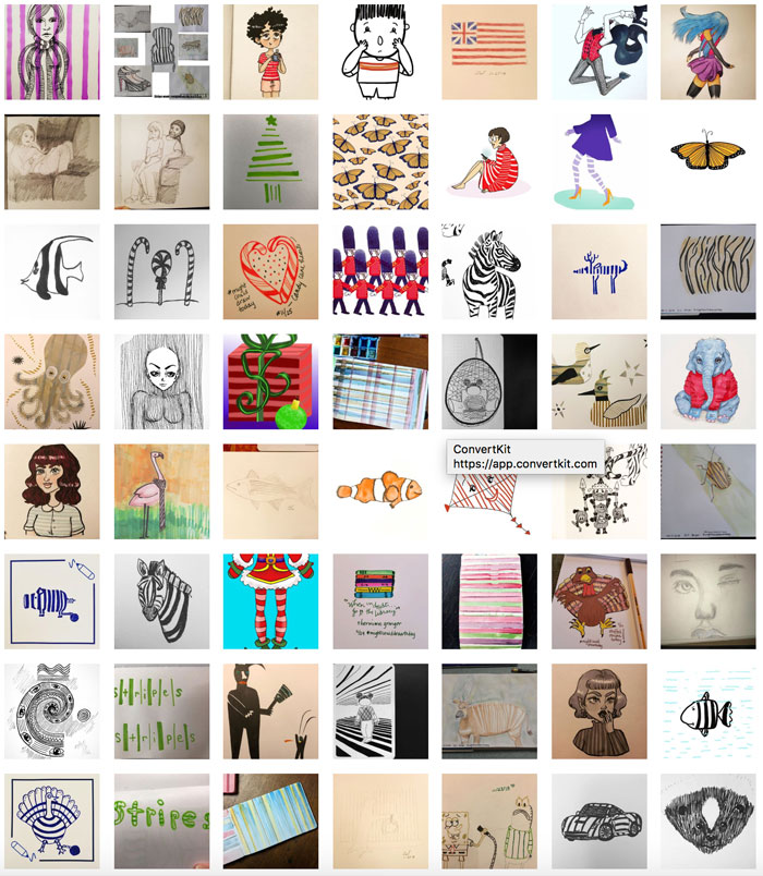 #MightCouldDrawToday Week 40: Stripes. Christine Nishiyama, Might Could Studios.
