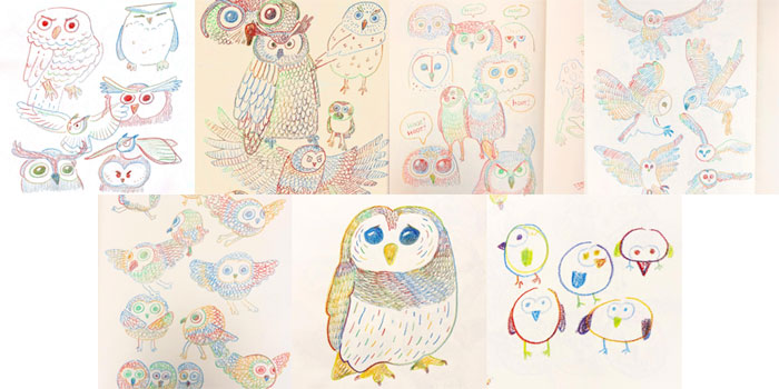 #MightCouldDrawToday Week 43: Owls. Christine Nishiyama, Might Could Studios.